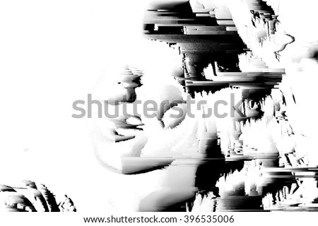 digital glitch background face