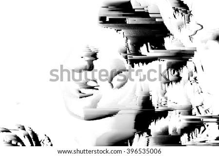 digital glitch background face - stock photo