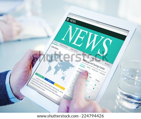 Digital Global News Mortgage and Service Center Concept - stock photo