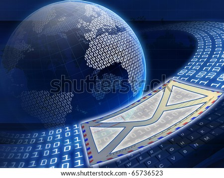 Digital globe and e-mail - stock photo