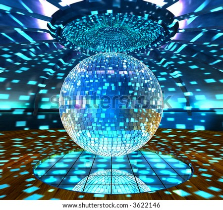 digital graphic mirrorball in the club - stock photo