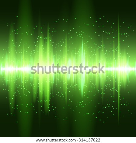 Digital green light Equalizer background. Raster version. - stock photo