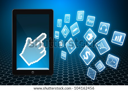 Digital hand on touch pad and applications icons - stock photo