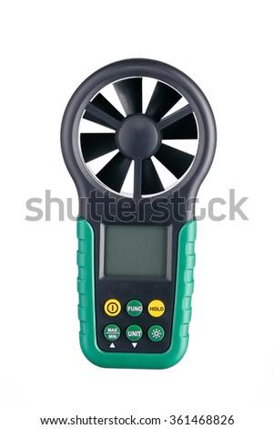 Digital handheld anemometer isolated on white background - stock photo
