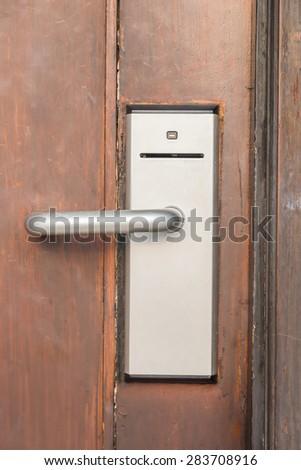 Digital handle card door lock , security system - stock photo