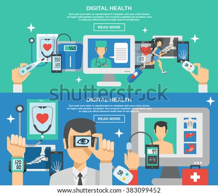 Digital Health Banner Set - stock photo