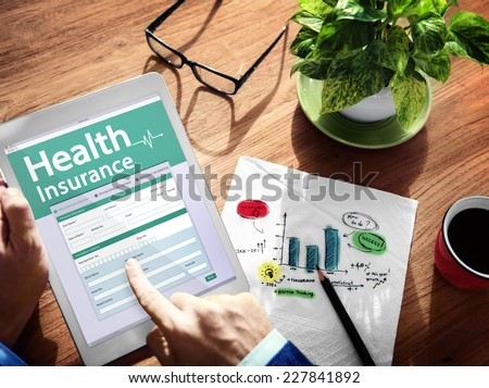 Digital Health Insurance Application Concept - stock photo