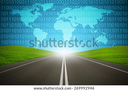 Digital highway with binary code and global map with green grass and asphalt street representing technology to focused destination for goal success. Internet networks from around the world - stock photo