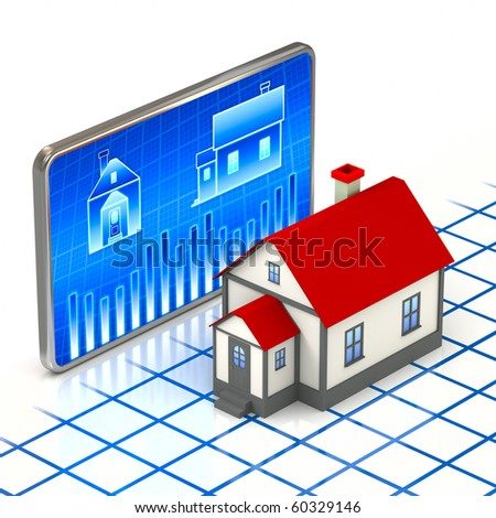Digital house and home symbol concept