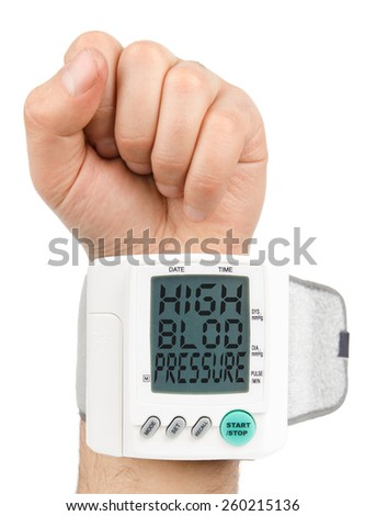 Digital Hypertension blood pressure monitor - stock photo