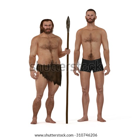 Digital illustration and render of a Neanderthal man - stock photo