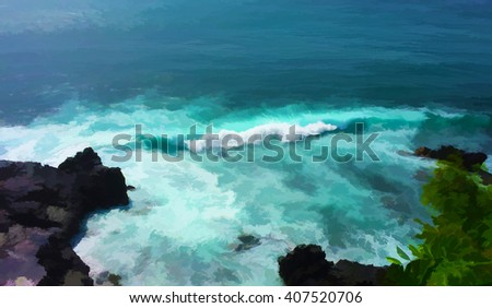 Digital illustration: blue wave and black cliff, wavy sea painting, marine landscape, dramatic sea scene, tropical sea waves for surfing, summer vacation on island, Bali island sea view, sea panorama - stock photo