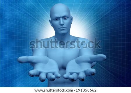 digital illustration 3d man and hands - stock photo