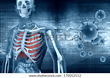 digital illustration 3dman anatomy and virus cell - stock photo