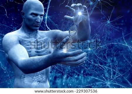 digital illustration DNA and Men - stock photo