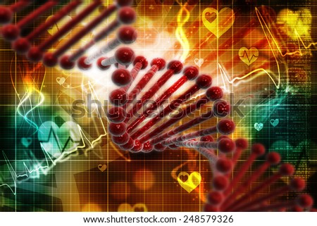 Digital illustration DNA structure in colour background - stock photo