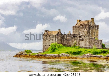 Digital illustration from a photograph of Eilean Donan Castle near the village of Dornie in the highlands of Scotland,  founded in the 13th century