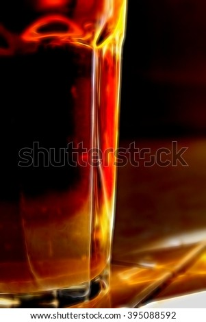 Digital illustration - Glass with a tea cocktail, glow light, brown drink in a glass, black te in glass, hot earl grey tea closeup, brown and orange lights in a glass with drink, refreshing tea drink