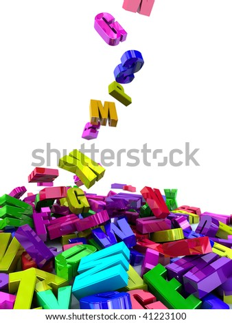 digital illustration. Letters falling from the sky - stock photo