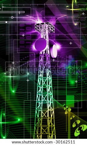 Digital illustration Mobile tower in colour background