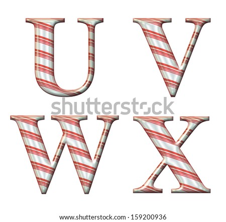 Digital illustration of a candy cane alphabet: Letters U,V,W,X - stock photo