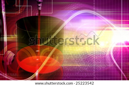 Digital illustration of a cylinder and pipes in a laboratory