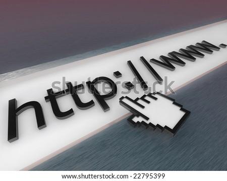 Digital illustration of a 3D internet address bar. - stock photo
