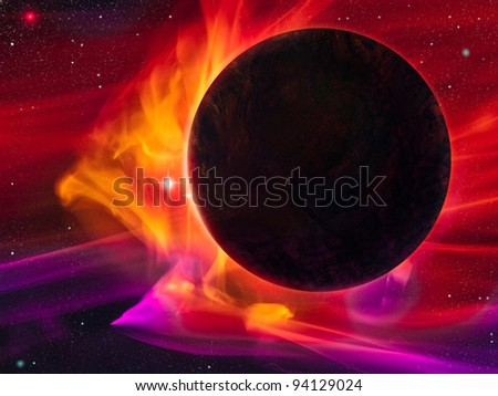 digital illustration of a dark planet engulfed by a magnetic storm or solar wind - stock photo