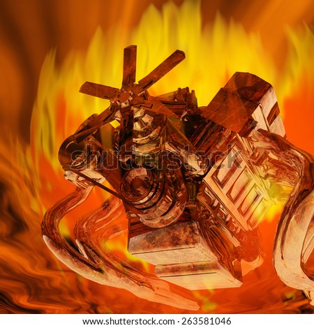 Digital Illustration of a flaming Engine - stock photo