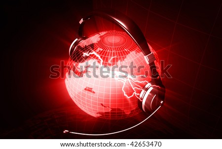 Digital illustration of a globe with head phone in colour background	 - stock photo