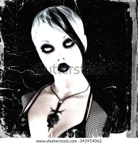 Digital Illustration of a Gothic Female - stock photo