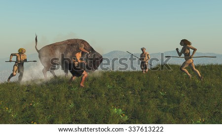 Digital illustration of a group of neandertals hunting a bison - stock photo