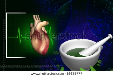 Digital illustration of a heart with ayurvedic medicine  	 - stock photo