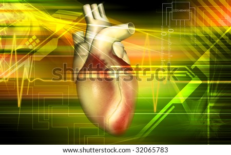 Digital illustration of a heart with eco cardio gram pulse	 - stock photo