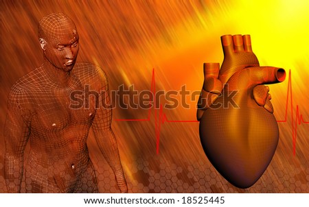 Digital illustration of a heart with eco cardio gram pulse and human body 	 - stock photo
