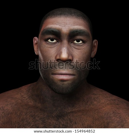 Digital Illustration of a Homo Erectus - stock photo