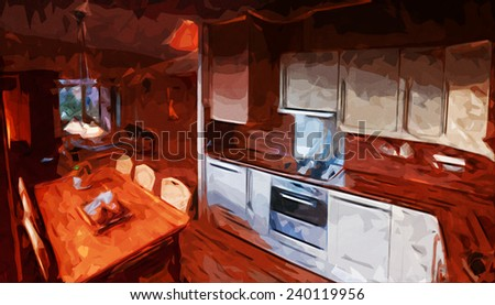 Digital illustration of a kitchen interior design with dining table
