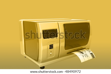 Digital illustration of  a Label writer in colour background