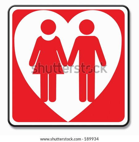 Digital illustration of a love couple sign and symbol