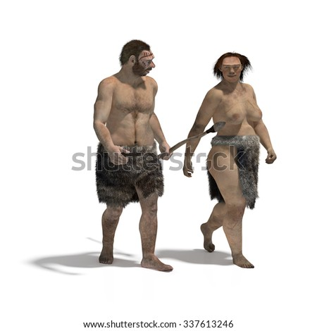 Digital illustration of a man and a woman of neanderthal walking - stock photo