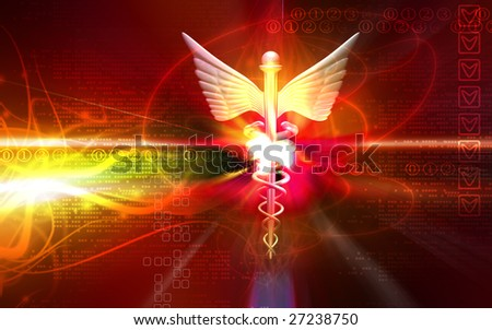 Digital illustration of a medical logo in red colour - stock photo