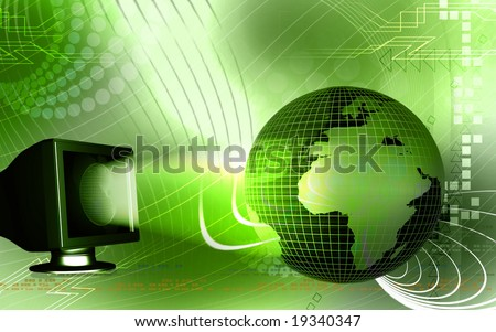 Digital illustration of a monitor and earth 	 - stock photo