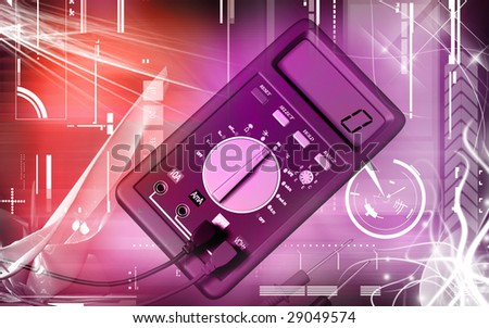 Digital illustration of  a multimeter in colour background
