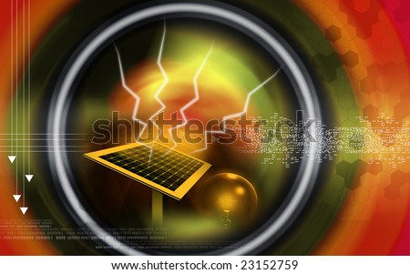 Digital illustration of a solar panel and electric bulb - stock photo