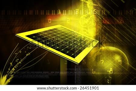 Digital illustration of a solar panel and filament bulb - stock photo