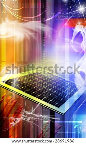 Digital illustration of a solar panel in colour background - stock photo