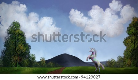 digital illustration of a unicorn roaming under a cloudy sky - stock photo
