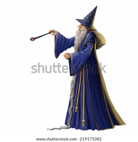 Digital illustration of a wizard on a white background. - stock photo