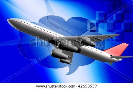 Digital illustration of Aeroplane with colour background