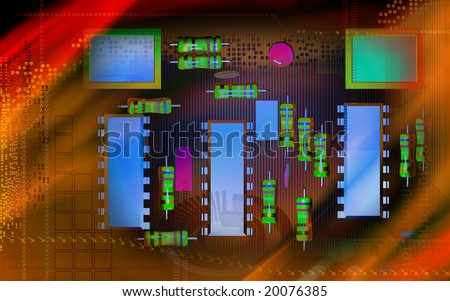 Digital illustration of an electric circuit board